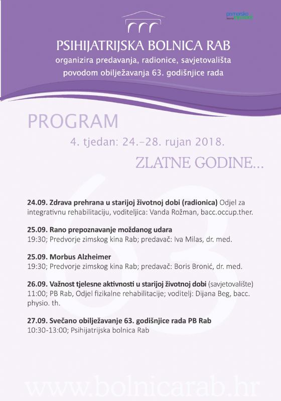 Program događanja 4. tjedan